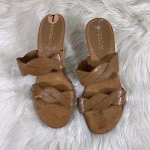 Aerosoles Brown Suede Braided Wooden Heels Size 7